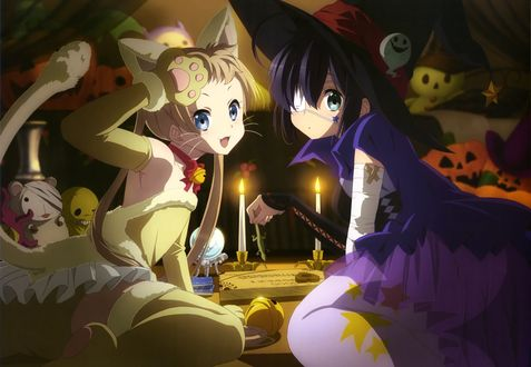 Обои Рикка Таканаши / Rikka Takanashi в костюме ведьмы и Санаэ Дэкомори / Sanae Dekomori в костюме кошки из аниме Чудачества любви не помеха! / Chuunibyou demo Koi ga Shitai! на Хэллоуин / Halloween