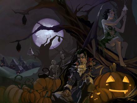 Обои Вампир сидит под деревом рядом с тыквами, девушка демон сидит на дереве, скелет положил свою костлявую руку на спину коту, летучие мыши на ветках, позади деревня, автор Ten Zee 7