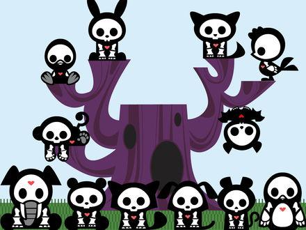 Обои Skelanimals, скелетики разных зверушек с сердечком