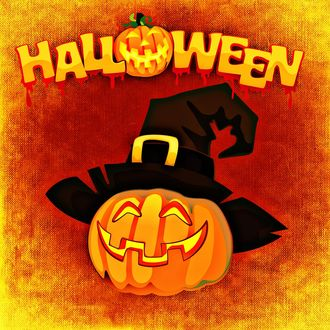 Обои Тыква в ведьминой шляпе, сверху надпись Halloween / Хеллоуин с тыквой вместо буквы o