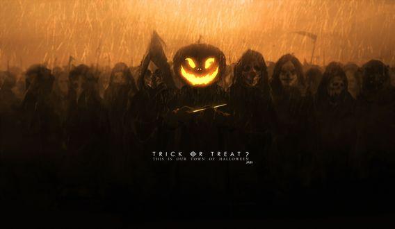 Обои Толпа в масках и балахонах стоит под дождем, их предводитель в светящейся маске в виде тыквы с ножом в руках, art by mivit