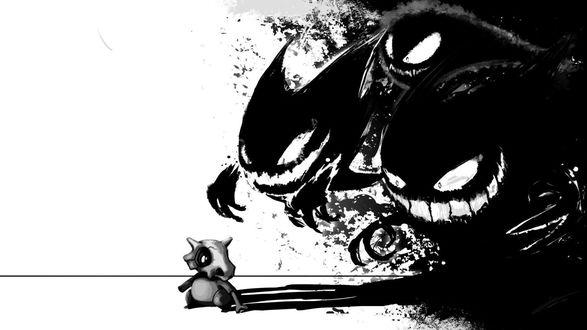 Обои Покемоны: Гастли, Хонтер, Генгар, Кубон