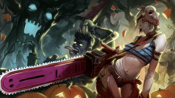 Обои Riven the Exile / Ривэн из игры Лига Легенд / League of Legends с большой розовой бензопилой, с маской маньяка на голове, и зомби на Хэллоуин / Halloween