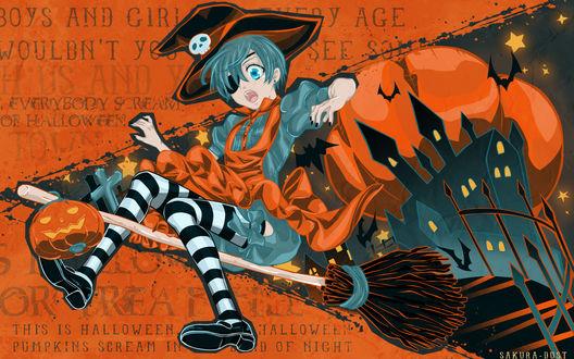 Обои Ciel Phantomhive / Сиэль Фэнтомхайв из аниме Темный дворецкий / Dark Butler / KuroShitsuji в костюме ведьмы летит на метле на Хэллоуин / Halloween (by SAKURA-DUST)