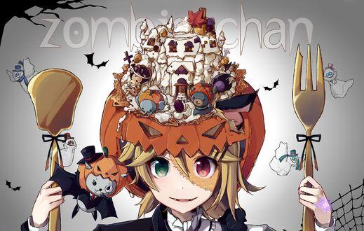 Обои Vocaloid Kagamine Len&Rin in Halloween / Близнецы Вокалоиды Кагаминэ Лен и Рин, сшитые вместе, в тыквенной шляпе с тортом в виде замка с сидящими вокруг него миниатюрными животными, с большой позолоченной лопаточкой в одной руке и вилкой в другой, на Хэллоуин. Рядом парят большая летучая мышь-вампир во фраке, с моноклем, тыквой и шляпкой-цилиндром на голове, и маленькие привидения (zombie-chan)