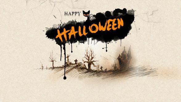 Обои Нарисованное кладбище и черная клякса в виде тучи с черным котом-вампиром на растрескавшейся штукатурке с надписью Happy Halloween / Счастливого Хэллоуина
