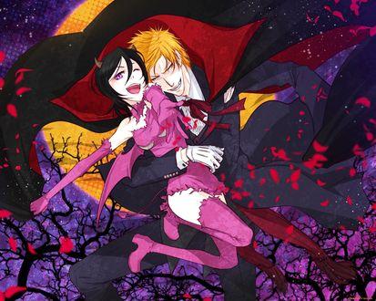 Обои Кучики Рукия / Rukia Kuchiki в шуточном образе крылатого демона и Kurosaki Ichigo / Куросаки Ичиго в роли вампира на фоне полной луны, арт на аниме Блич / Bleach