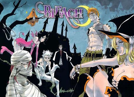 Обои Герои аниме Блич / Bleach в образах для Хэллоуина на фоне луны и темного замка