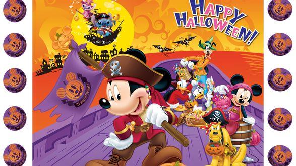 Обои Микки Маус и его друзья, персонажи из мультфильмов Диснея, плывут на сказочном корабле на встречу приключениям, в ночь на Хэллоуин