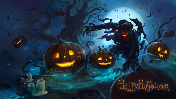 Обои Ночь Хэллоуина, мрачное пугало, стоит качаясь около дерева, тыквы стоят на земле, на небе видны летучие мыши, которые летают на фоне луны