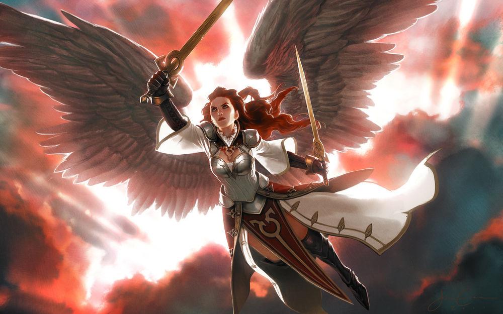Обои для рабочего стола Рыжеволосая крылатая валькирия атакует с двумя мечами, игра Magic the Gathering