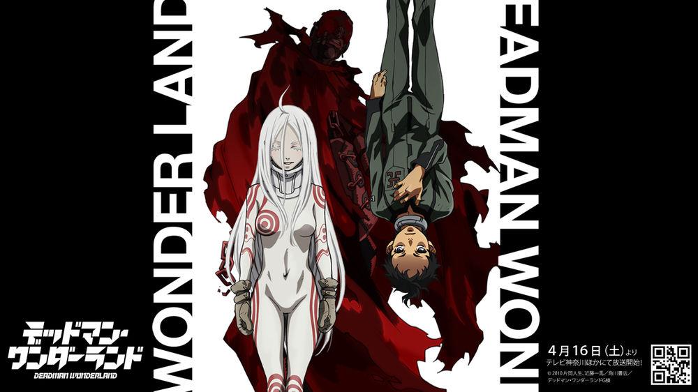 Обои для рабочего стола Сиро / Shiro, Игараси Ганта / Igarashi Ganta и Красный Человек на фоне с надписью названия аниме Deadman Wonderland / Страна чудес смертников