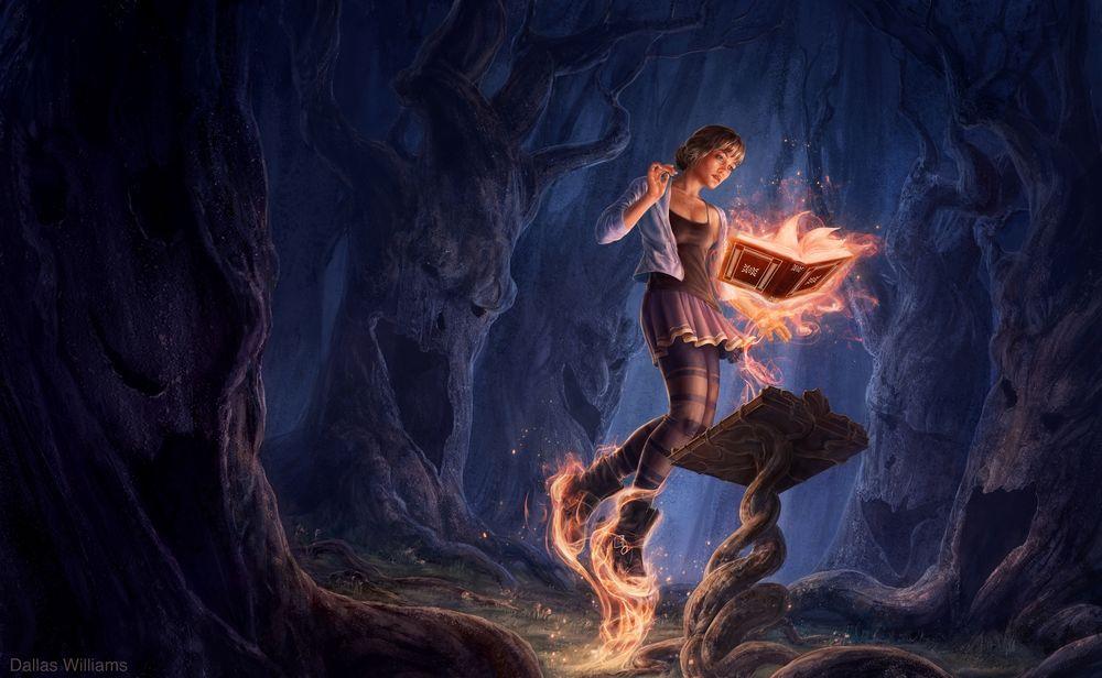 Обои для рабочего стола Девушка в горящих ботинках стоит перед горящей книгой, by Dallas-Williams