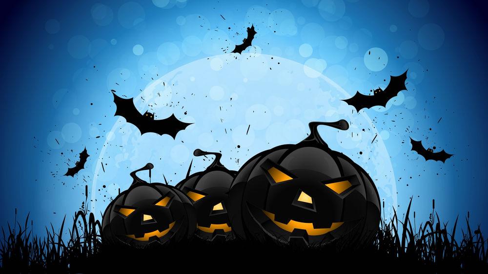Обои для рабочего стола Черные тыквы улыбаются, черные летучие мыши летают на фоне луны