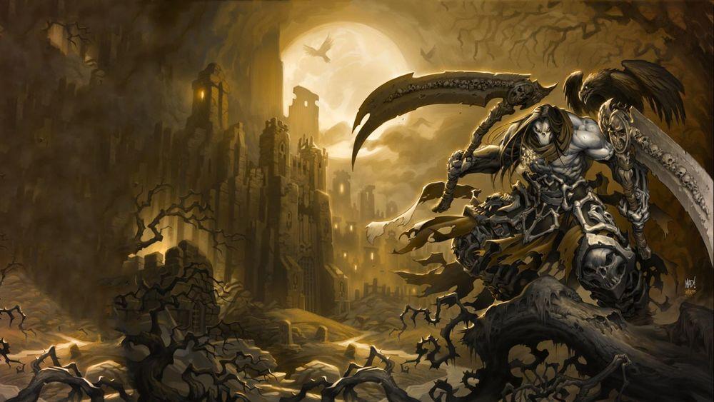 Обои для рабочего стола Death / Смерть один из четырех всадников апокалипсиса с парными косами в руках, Ash / Прах, из игры Darksiders II