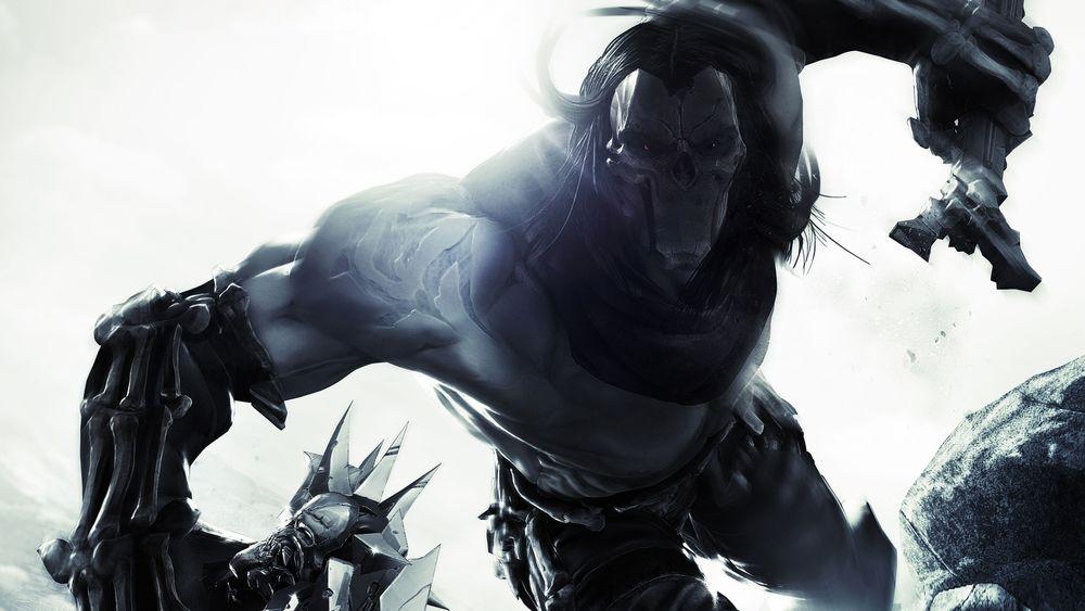 Обои для рабочего стола Death / Смерть один из четырех всадников апокалипсиса с парными косами в руках, над ним в небе летает его спутник и помощник ворон Ash / Прах, из игры Darksiders II