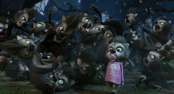 Обои Девочка оборотень с пустышкой во рту, среди мальчиков волков оборотней. Мультфильм Монстры на каникулах / Hotel Transylvania