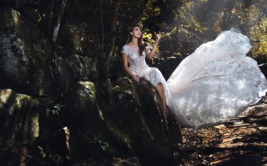 Обои Азиатка в белом платье сидит на камнях под деревьями