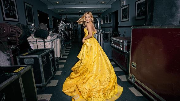 Обои Актриса Reese Witherspoon / Риз Уизерспун в желтом платье со шлейфом