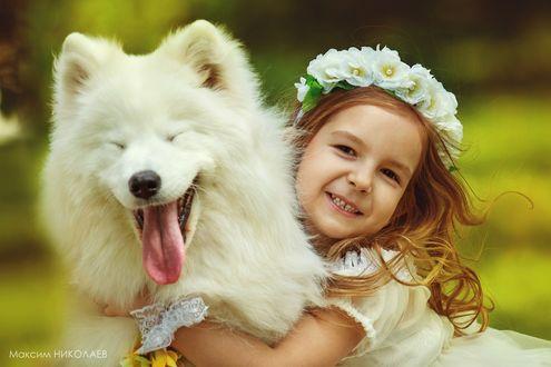 Обои Девочка с венком из белых цветов на голове обнимает собаку, фотограф Максим Николаев