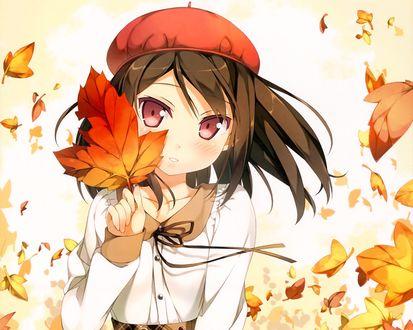 Обои Девушка в красном берете держит в руке опавший кленовый листок, вокруг кружат желтые листья. Аниме рисунок