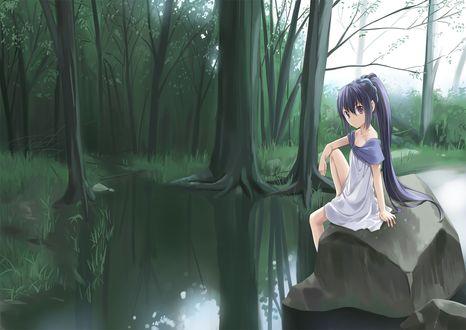 Обои Рисунок девушки сидящей на камне возле воды