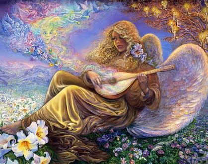 Обои Чарующую, волшебную мелодию наигрывает девушка-ангел, сидя на цветочной поляне. Картина Джозефины Уолл