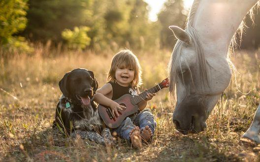 Обои Маленький мальчик, с гитарой в руках, сидит на траве рядом с черным псом и лошадью