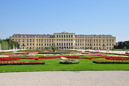 Обои Красивый замок Шенбрунн, Вена, Австрия