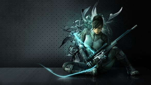 Обои Девушка в костюме со снайперской винтовкой сидит около стены, в неоновом цвете