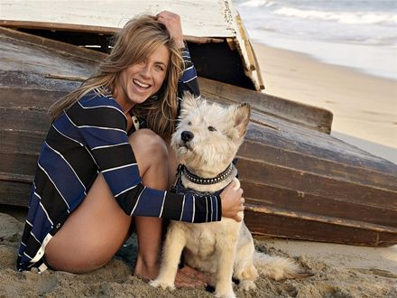 Обои Дженнифер Энистон / Jennifer Aniston с белым псом сидит на песке у лодки на побережье