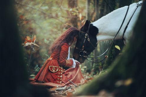 Обои Девушка, в военном красном мундире, сидит в лесу, приложив свою голову к голове лошади
