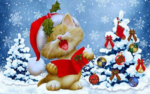Обои Рисунок котеночка в новогоднем красном колпачке, котик читает новогодний гимн, рядом наряженная елочка и крупные снежинки