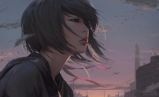 Обои Девушка стоит на фоне неба, By GUWEIZ