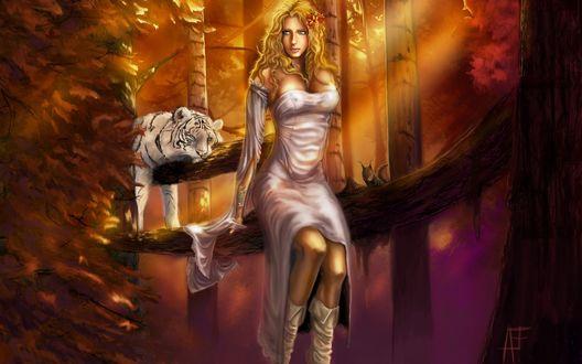 Обои Рисунок осеннего леса, Девушка сидит на бревне дерева, рядом лежит белый тигр и сидит белочка, автор AF
