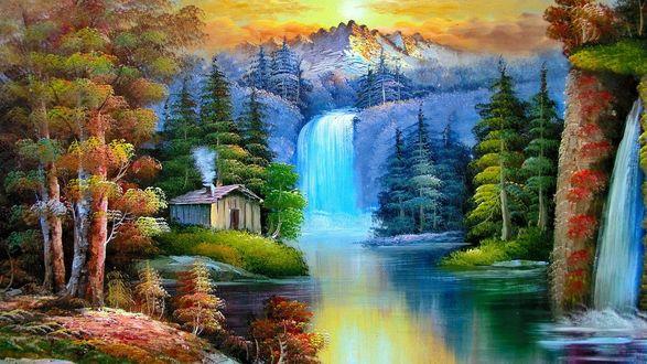 Обои Водопад в сказочном лесу