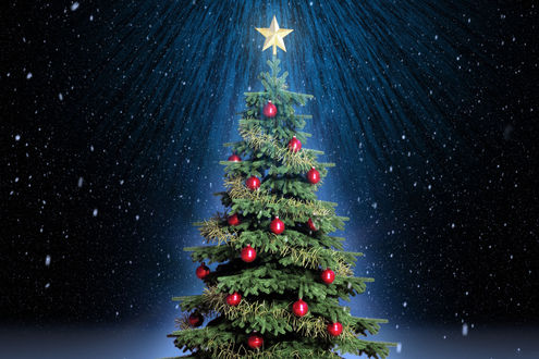 Обои Новогодняя елка со звездой в лесу под снегопадом