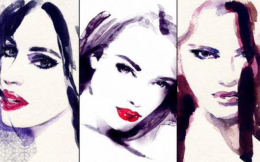 Обои Три картины с девушками, выполненные акварелью