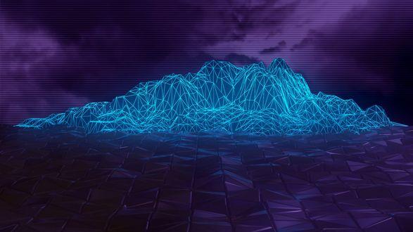 Обои Синие абстрактные горы на фиолетовом фоне