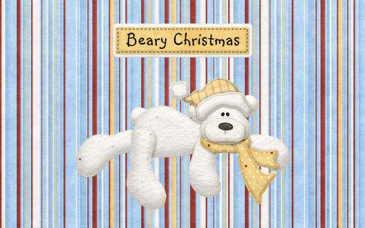 Обои Открытка на рождество, белый медведь на фоне разноцветных полос, в шляпке и шарфе, Beary Christmas / Рождественский мишка