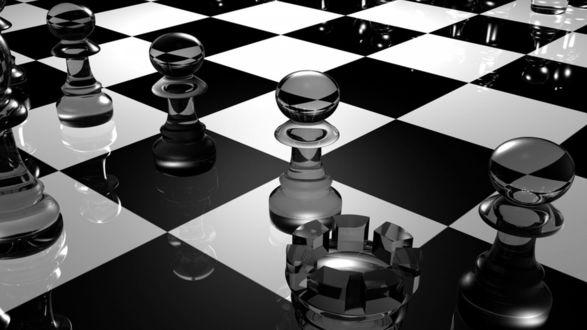 Обои Черно-белая шахматная доска с фигурами