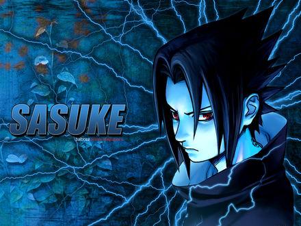 Обои Учиха Саске / Sasuke Uchiha использует sharingan, из аниме Наруто / Naruto