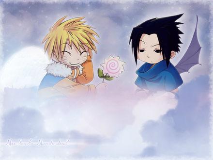 Обои Демон Sasuke Uchiha и ангел Наруто Узумаки / Naruto Uzumaki сидят в облаках, из аниме Наруто / Naruto