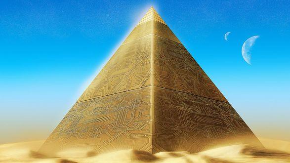Обои Пирамида из золота на фоне голубого неба и двух полумесяцев