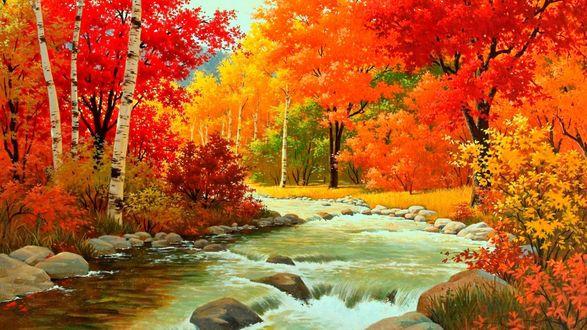 Обои Рисунок осеннего пейзажа