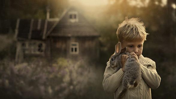 Обои Мальчик держит кролика в руках