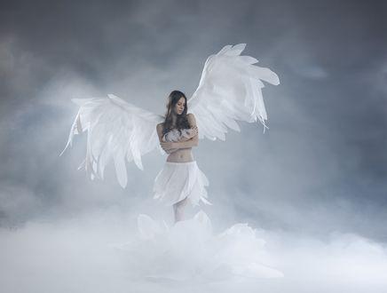 Обои Девушка - ангел в облаках, ву Kirill Nikolaev