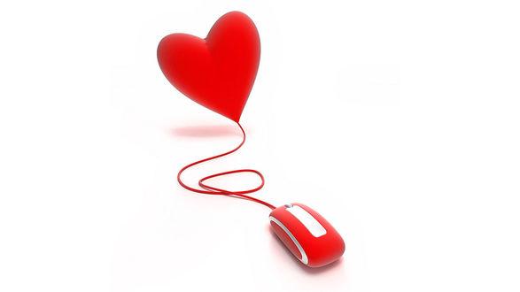 Обои Компьютерная мышка с красным сердцем на белом фоне