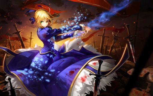 Обои Saber / Сейбер с магическим оружием на поле боя из аниме и игры Fate. Stay Night / Судьба. Ночь Прибытия