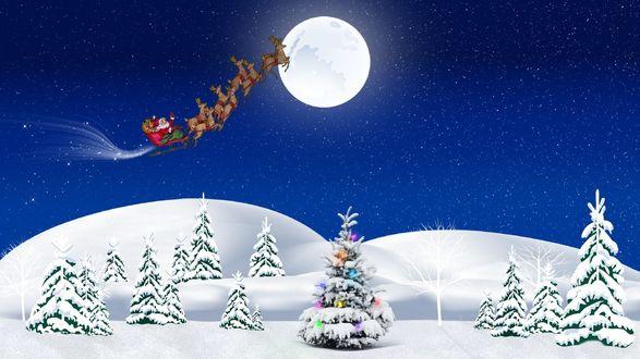 Обои Санта на упряжке летит мимо луны над елками